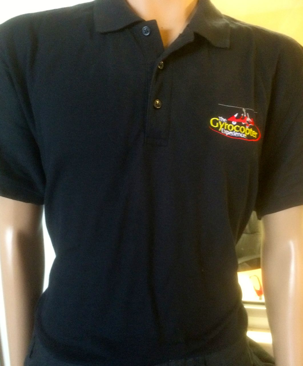 Black Polo Shirt with Gyrocopter Experience Logo Adult